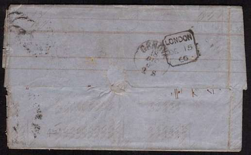 view larger back view of image for 6d Lilac with hyphen from Plate 5 lettered 'J-F' on entire cancelled with part  LONDON duplex and LONDON handstamp on reverese dated DE 15 66 to GENOVA - ITALY. SG Cat �150